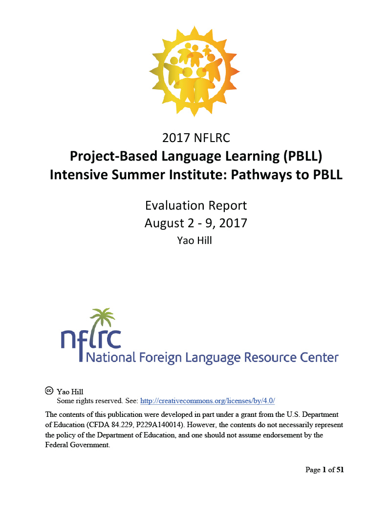NFLRC 2017 Project-Based Language Learning (PBLL) Intensive Summer Institute: Pathways to PBLL