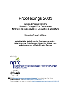 Proceedings 2003: Selected papers from the seventh college-wide conference for students in languages, linguistics, and literature