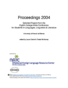 Proceedings 2004: Selected papers from the eighth college-wide conference for students in languages, linguistics, and literature