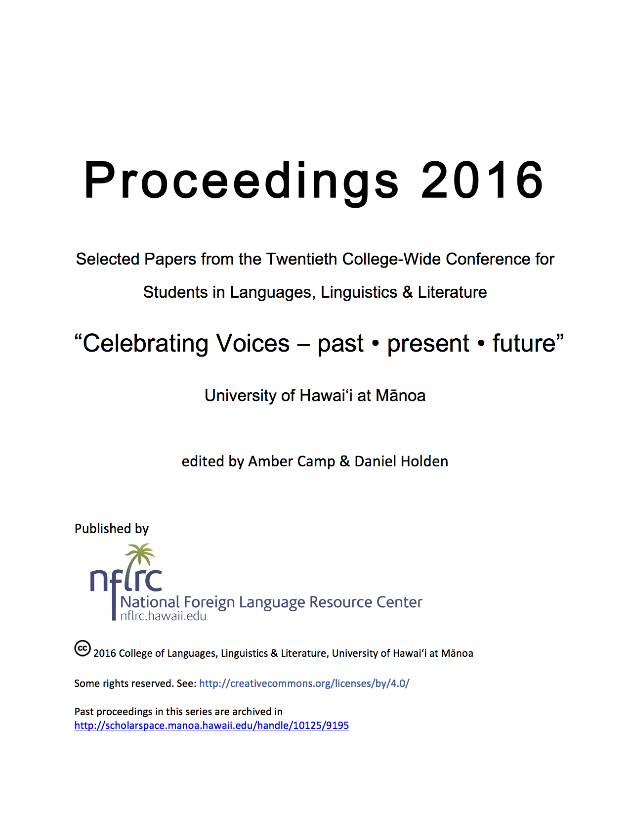 Proceedings 2016 cover image